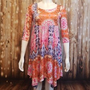 Tops - Psychedelic acid print baby doll tunic/dress